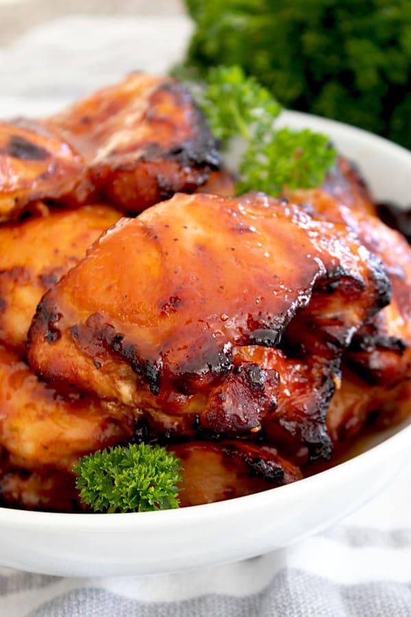 close up of bbq chicken