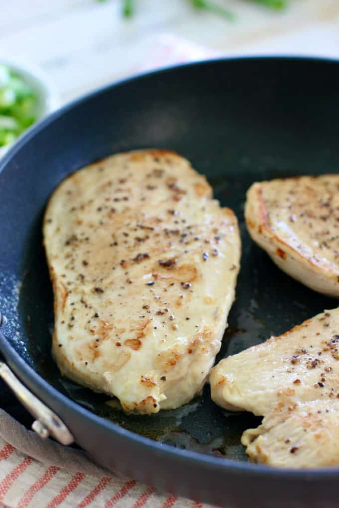 seared chicken breasts in skillet