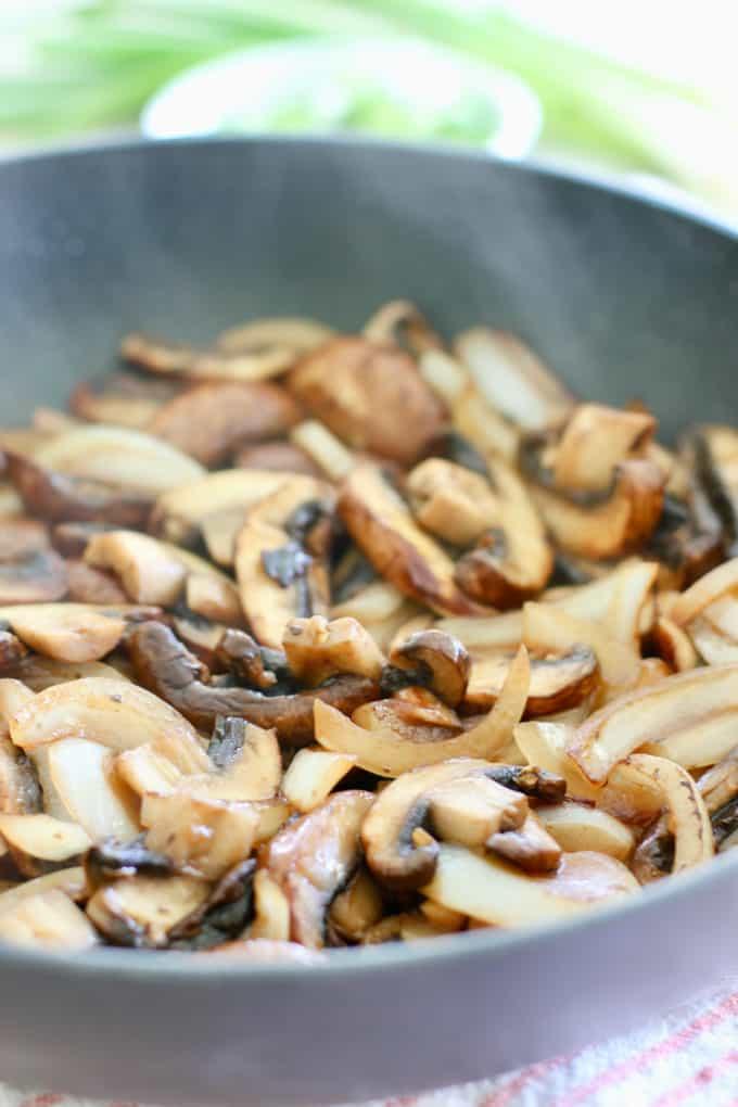 Perfectly brown mushroom in a skillet