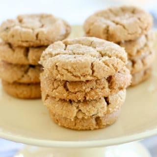 peanut butter cookies on yellow platter