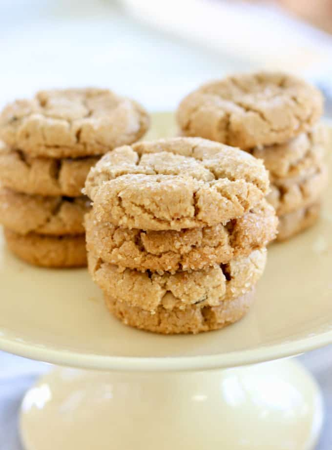 Peanut Butter Crinkle Cookies on  a yellow platter