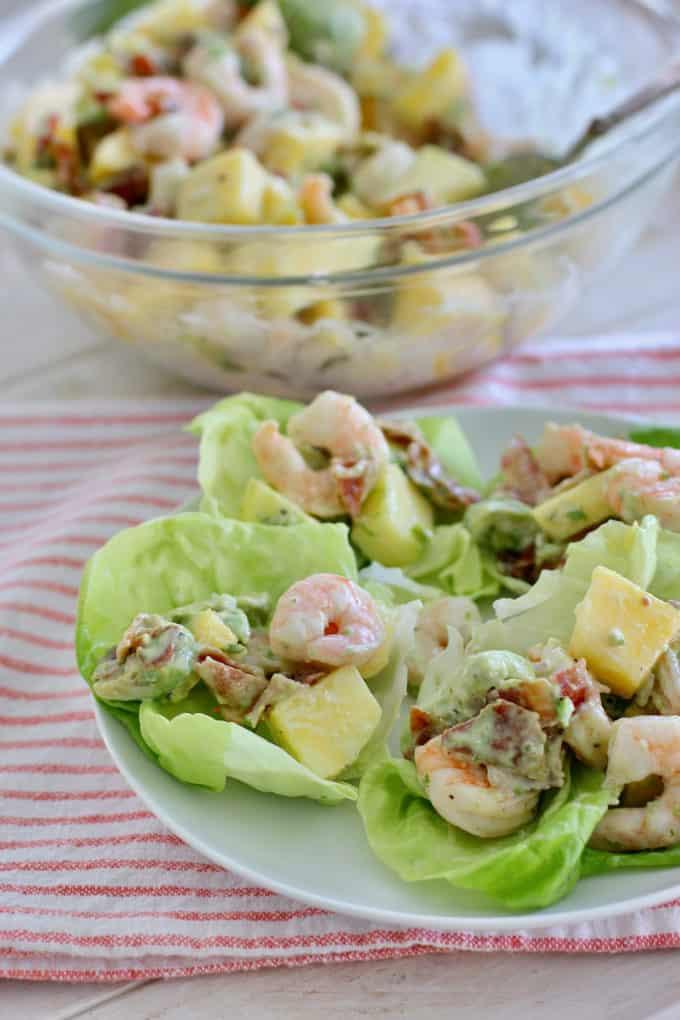 Shrimp Avocado Salad in lettuce wrap