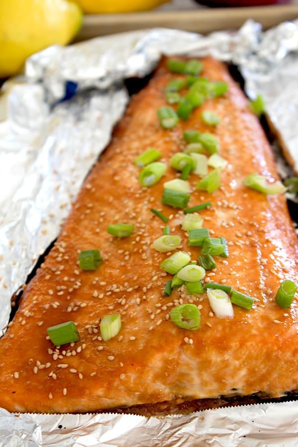 miso glazed salmon on a foil lined sheet pan