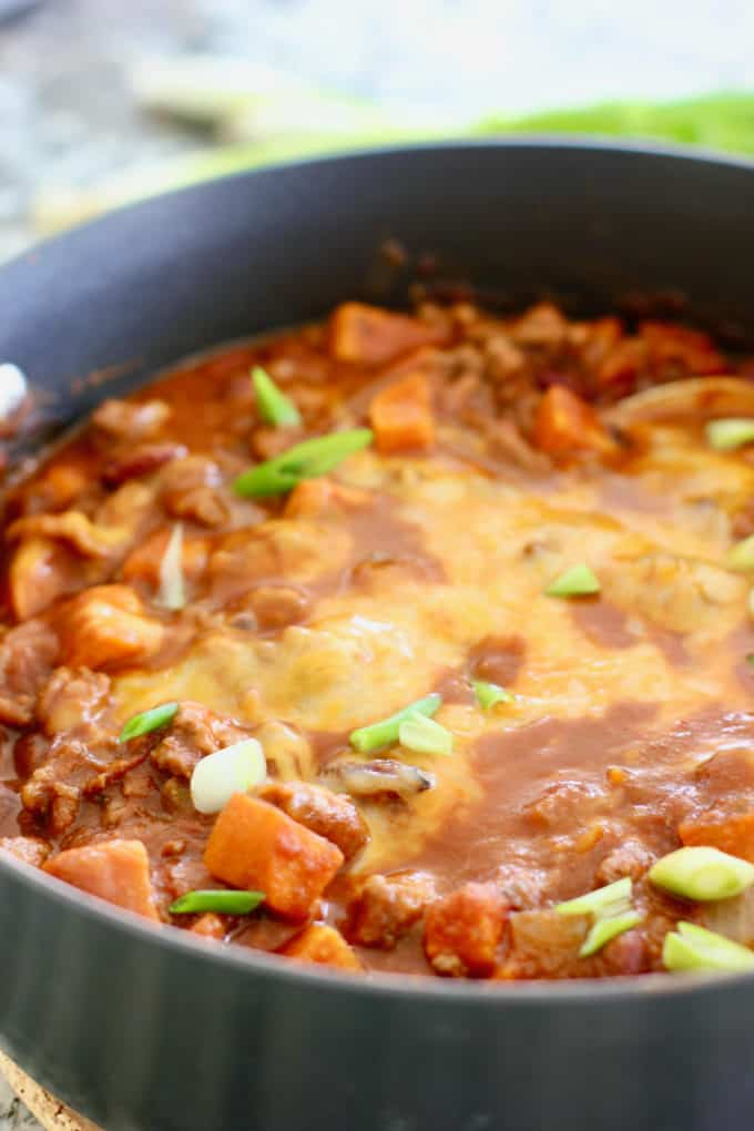 Chili with sweet potatoes in a large pot