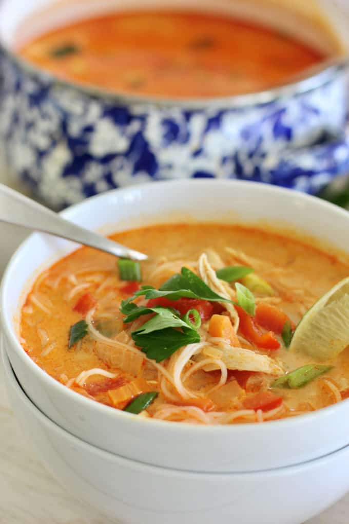 Thai coconut soup in a white bowl