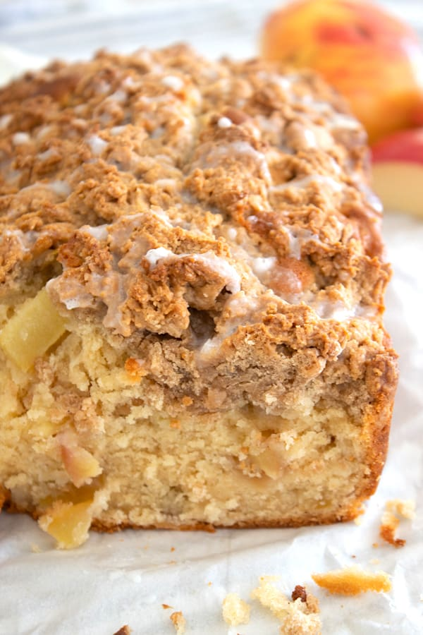 apple bread with apples in background