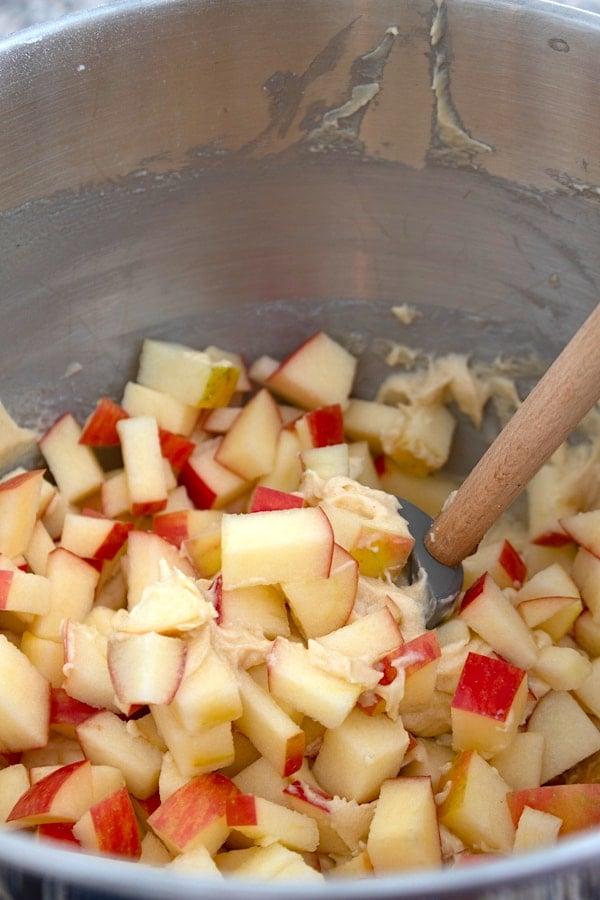 adding apples to batter