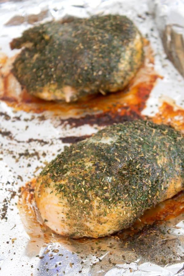 baked turkey tenderloin breast on a sheet pan