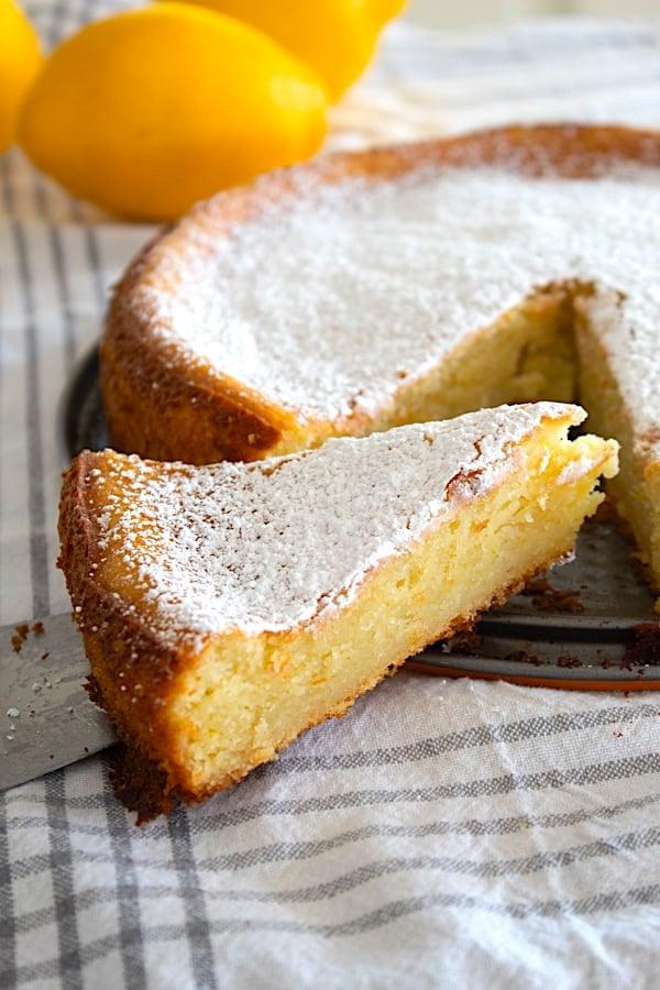 slice of lemon ricotta cake